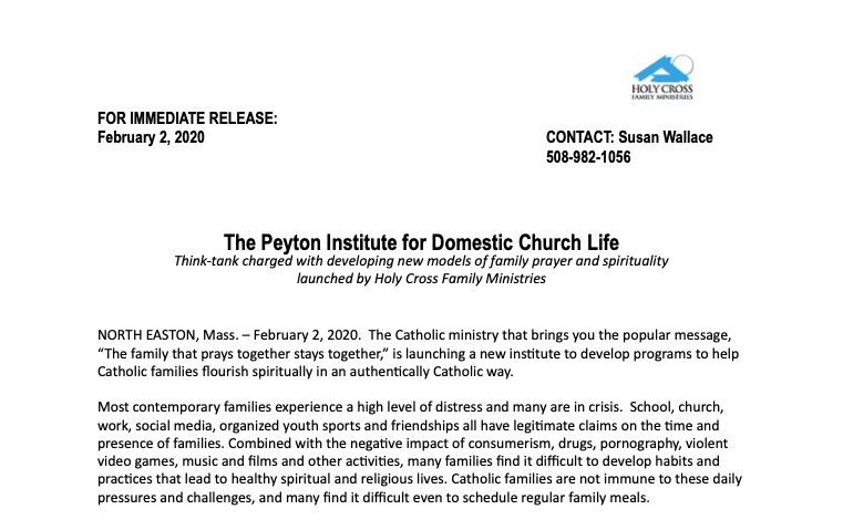 The Peyton Institute for Domestic Church Life